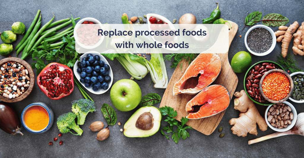 top down view on table full of fresh vegetables, fruits, fish and nuts with caption 'replace processed foods with whole foods'