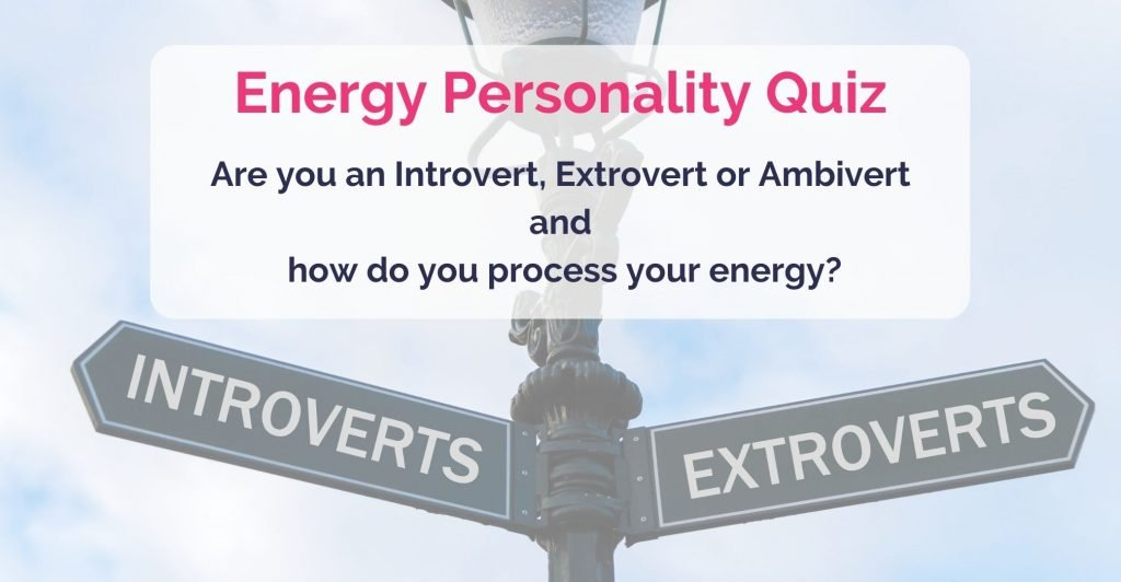 Street sign with 'introverts' 'extroverts' opposite direction, caption 'Energy Personality Quiz. Are you an Introvert, Extrovert or Ambivert and how do you process your energy?'